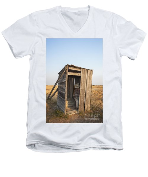 Mannequin Sitting In Old Wooden Outhouse Men's V-Neck T-Shirt