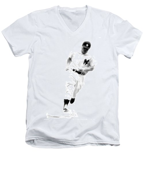 Mantles Gate  Mickey Mantle Men's V-Neck T-Shirt by Iconic Images Art Gallery David Pucciarelli