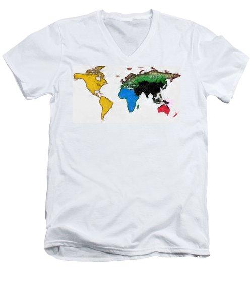 Map Digital Art World Men's V-Neck T-Shirt