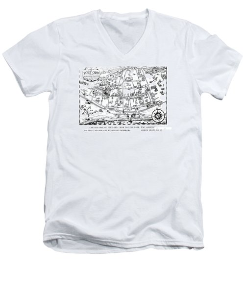 Map Of Fort Ord Army Base Monterey California Circa 1950 Men's V-Neck T-Shirt