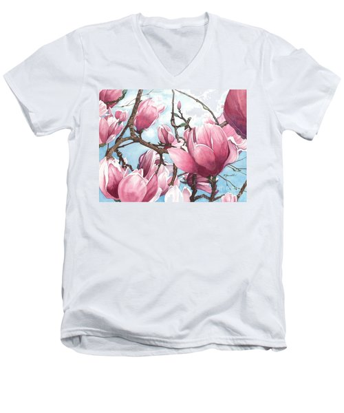 March Magnolia Men's V-Neck T-Shirt by Barbara Jewell