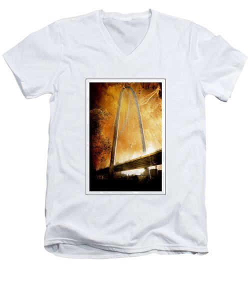 Margaret Hunt Hill Bridge Dallas Texas Men's V-Neck T-Shirt