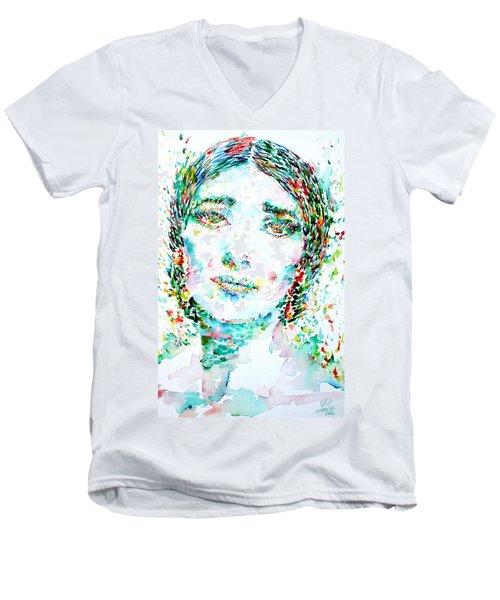 Maria Callas - Watercolor Portrait.1 Men's V-Neck T-Shirt