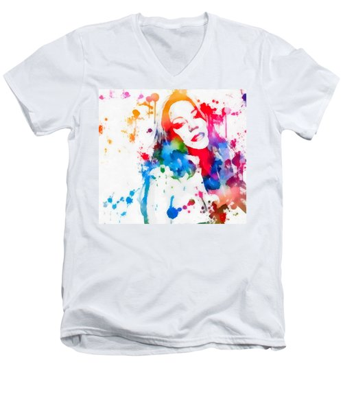 Mariah Carey Watercolor Paint Splatter Men's V-Neck T-Shirt