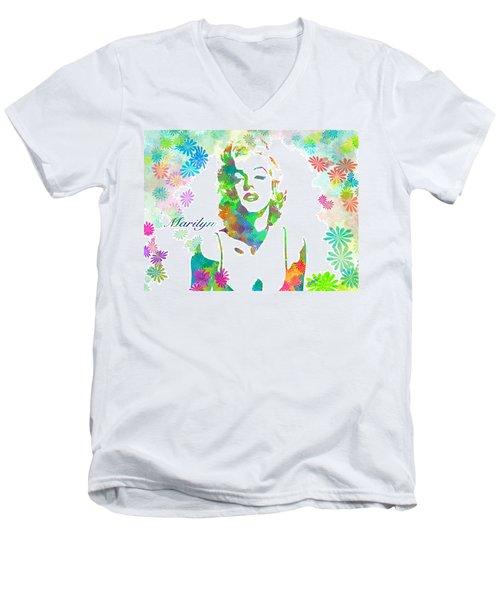 Marilyn Monroe Flowering Beauty Men's V-Neck T-Shirt
