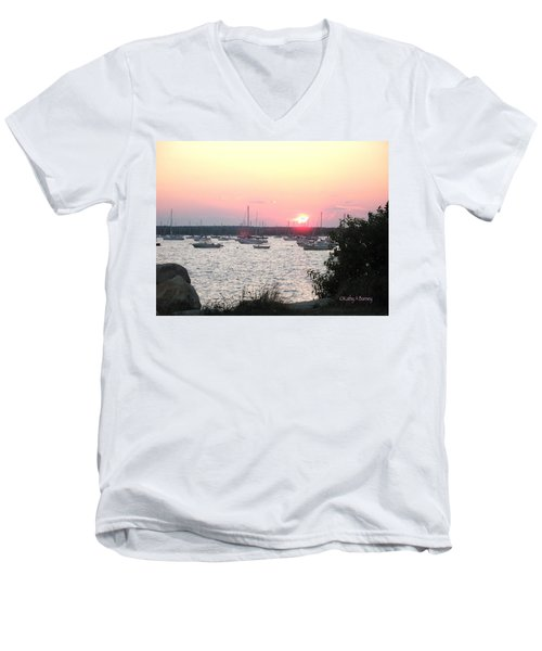 Men's V-Neck T-Shirt featuring the photograph Marion Massachusetts Bay by Kathy Barney