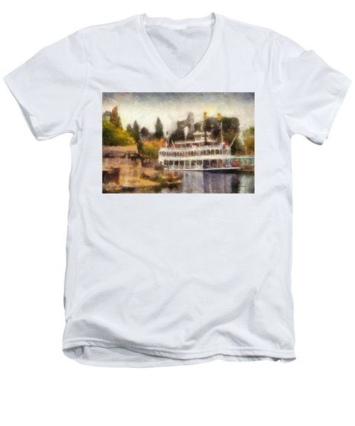 Mark Twain Riverboat Frontierland Disneyland Photo Art 02 Men's V-Neck T-Shirt by Thomas Woolworth