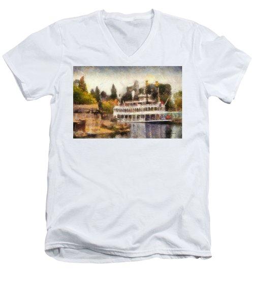 Mark Twain Riverboat Frontierland Disneyland Photo Art 02 Men's V-Neck T-Shirt