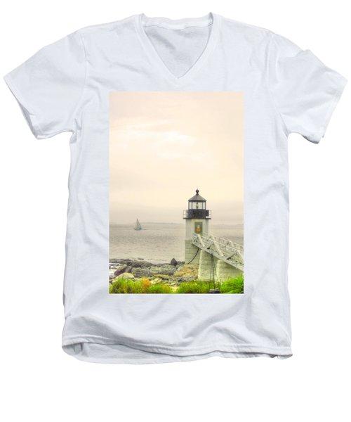 Marshall Point Lighthouse In Maine Men's V-Neck T-Shirt by Denyse Duhaime