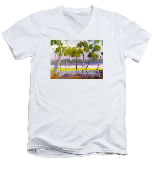 Men's V-Neck T-Shirt featuring the painting Marshlands Murray River Red River Gums by Pamela  Meredith