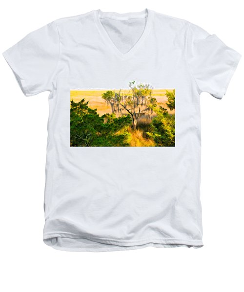 Marsh Cedar Tree And Moss Men's V-Neck T-Shirt