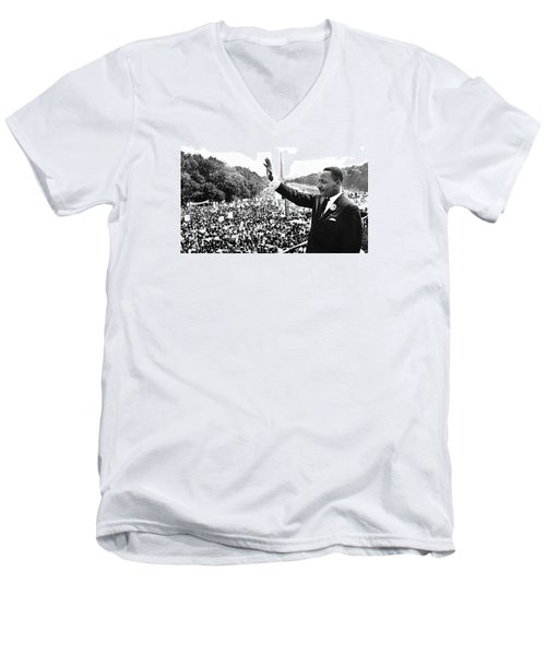Martin Luther King The Great March On Washington Lincoln Memorial August 28 1963-2014 Men's V-Neck T-Shirt by David Lee Guss