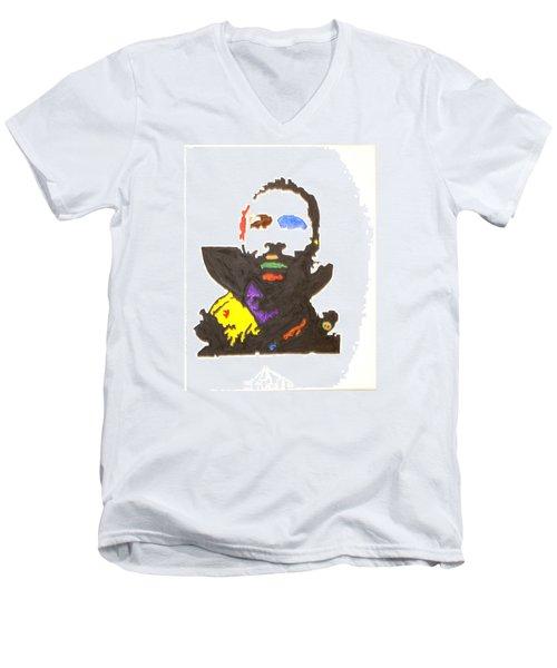 Men's V-Neck T-Shirt featuring the painting Marvin Gaye by Stormm Bradshaw