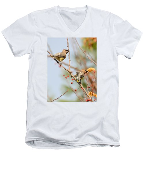 Men's V-Neck T-Shirt featuring the photograph Masked Duo by Kerri Farley