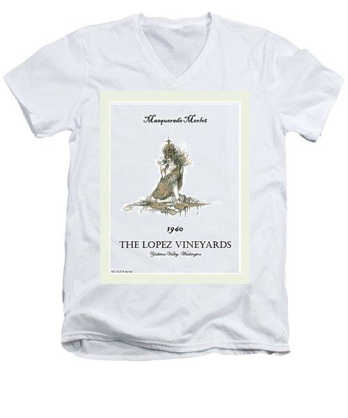 Masquerade Merlot Men's V-Neck T-Shirt by Julio Lopez
