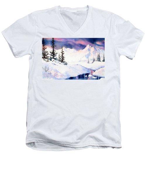 Men's V-Neck T-Shirt featuring the painting Matanuska Sunset Impression by Teresa Ascone
