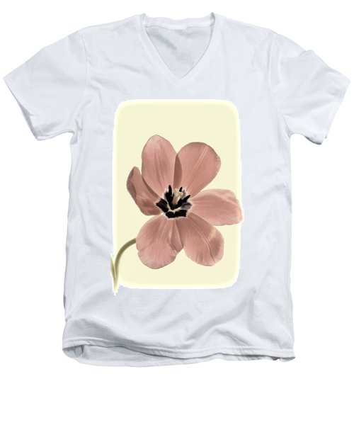 Mauve Tulip Transparency Men's V-Neck T-Shirt