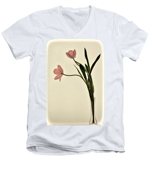 Mauve Tulips In Glass Vase Men's V-Neck T-Shirt