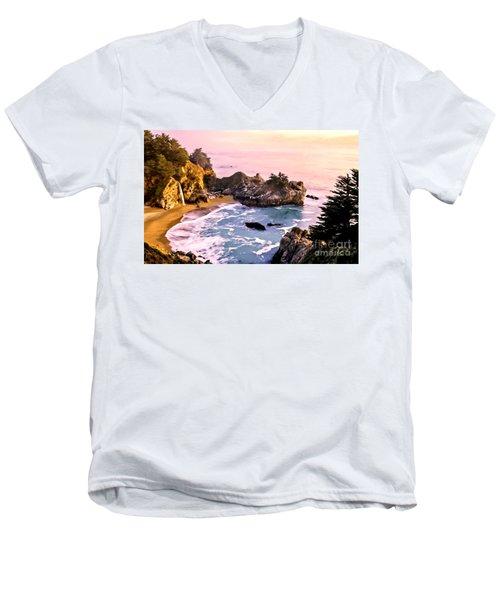 Mcway Falls Pacific Coast Men's V-Neck T-Shirt by Bob and Nadine Johnston