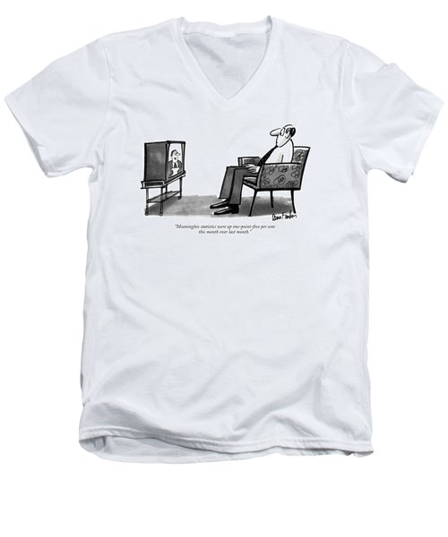Meaningless Statistics Were Up One-point-five Per Men's V-Neck T-Shirt