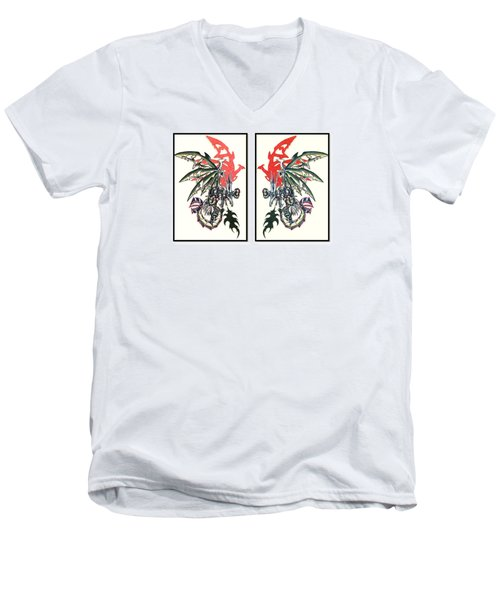 Mech Dragons Collide Men's V-Neck T-Shirt