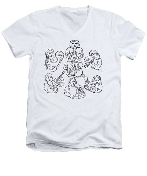 Medieval Musicians Men's V-Neck T-Shirt by Phil Cardamone