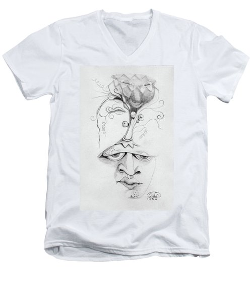 Meditation On The Crown Chakra Or Where Is Your Mind Going Surrealistic Fantasy Of Face With Energy  Men's V-Neck T-Shirt by Rachel Hershkovitz