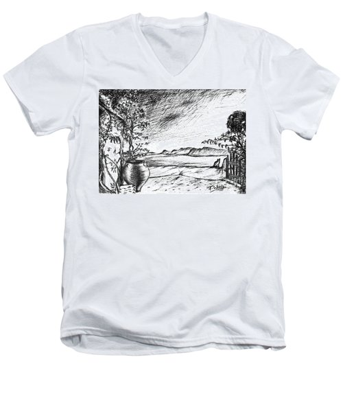 Men's V-Neck T-Shirt featuring the drawing Mediterranean Cat by Teresa White