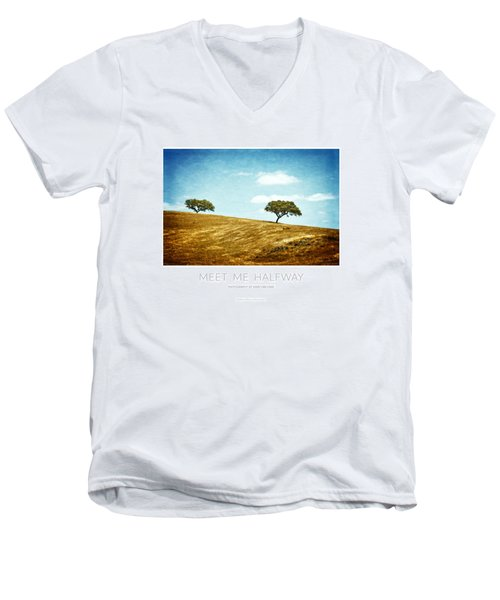 Meet Me Halfway - Poster Men's V-Neck T-Shirt by Mary Machare