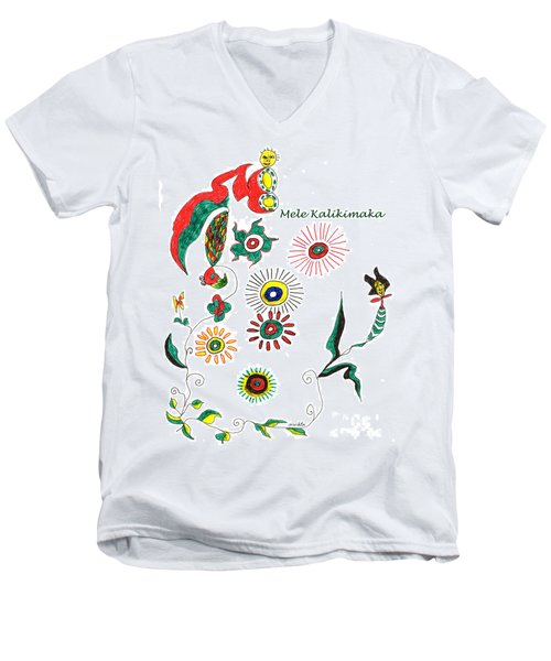 Men's V-Neck T-Shirt featuring the drawing Mele Kalikimaka by Mukta Gupta