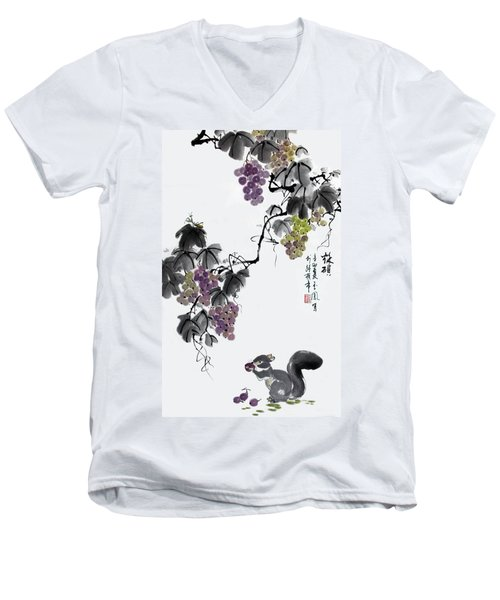 Men's V-Neck T-Shirt featuring the painting Melody Of Life II by Yufeng Wang