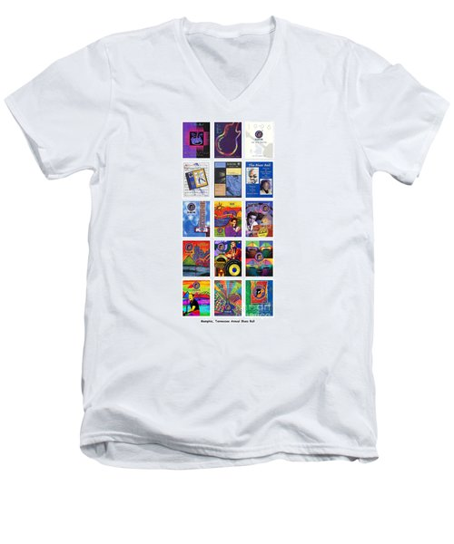 Posters Of Music Men's V-Neck T-Shirt by David Bearden