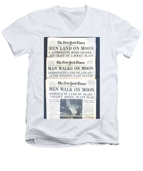 Men Walk On The Moon Men's V-Neck T-Shirt by Kenneth Cole