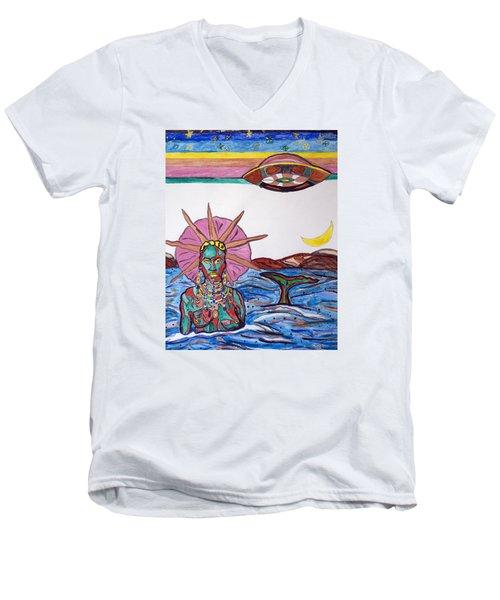 Yemoja Ufo  Men's V-Neck T-Shirt by Stormm Bradshaw