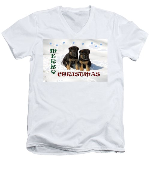 Merry Christmas Puppies Men's V-Neck T-Shirt