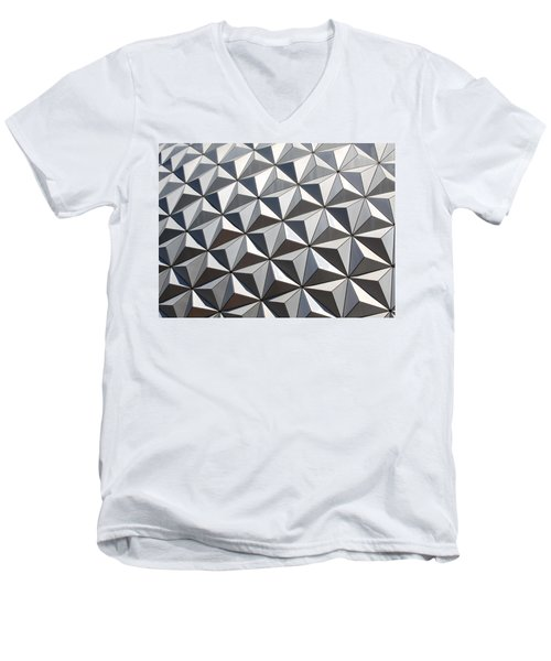 Men's V-Neck T-Shirt featuring the photograph Metal Geode by Chris Thomas