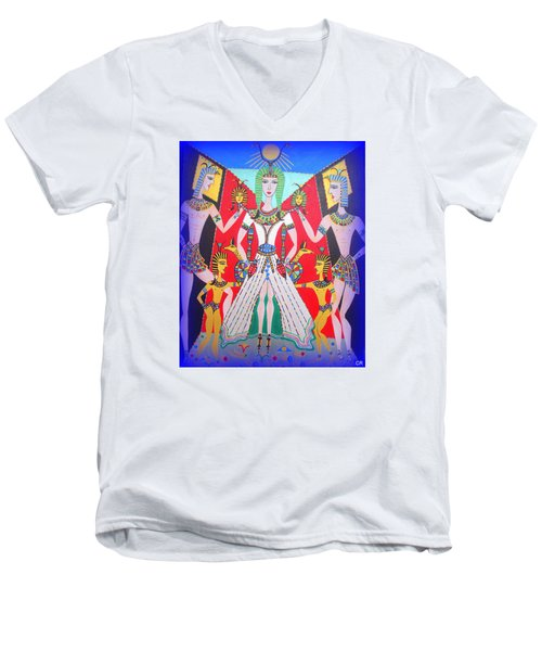 Men's V-Neck T-Shirt featuring the painting Metamorphosis Of Melisa Into Nefertiti by Marie Schwarzer