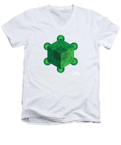 Metatron's Cube In Green Men's V-Neck T-Shirt