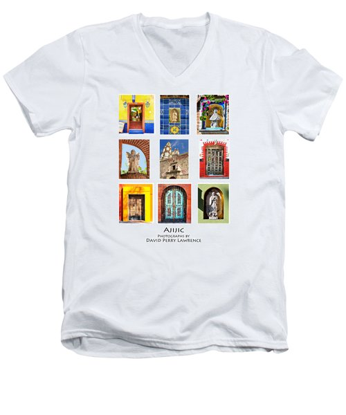 Men's V-Neck T-Shirt featuring the photograph Colorful Mexican Doors, Ajijic Mexico - Travel Photography By David Perry Lawrence by David Perry Lawrence