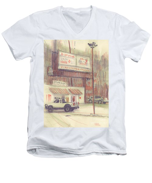 Men's V-Neck T-Shirt featuring the painting Mexican Take Out by Donald Maier