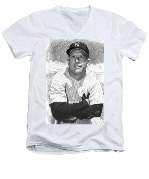 Mickey Mantle Men's V-Neck T-Shirt by Viola El
