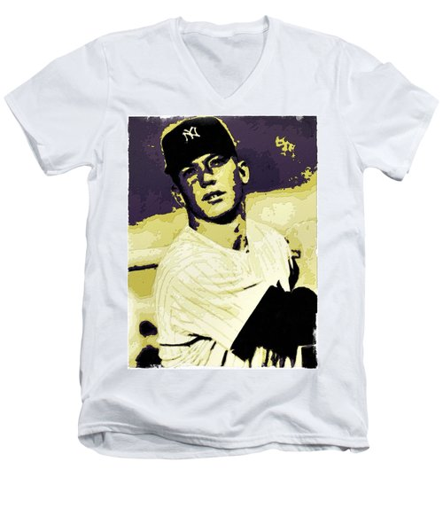 Mickey Mantle Poster Art Men's V-Neck T-Shirt by Florian Rodarte