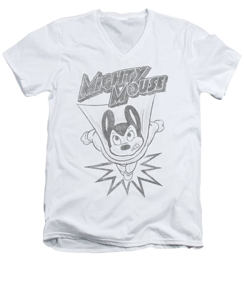 Mighty Mouse - Bursting Out Men's V-Neck T-Shirt by Brand A