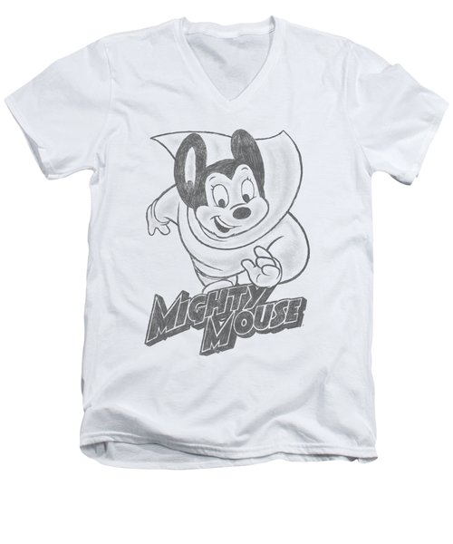 Mighty Mouse - Mighty Sketch Men's V-Neck T-Shirt