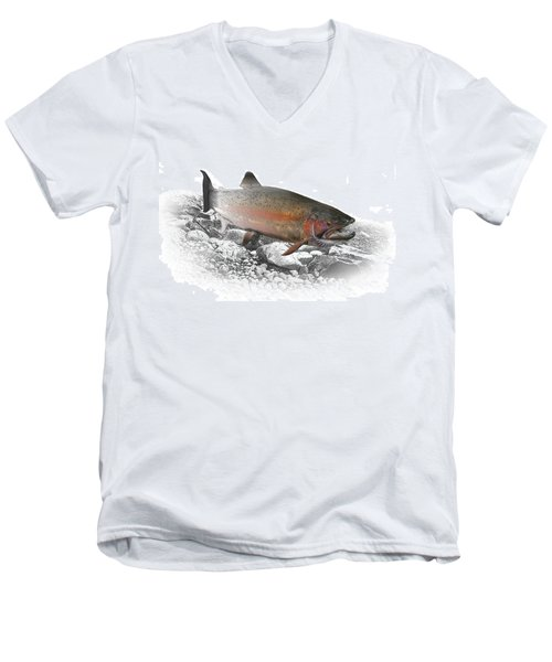 Migrating Steelhead Rainbow Trout Men's V-Neck T-Shirt by Randall Nyhof