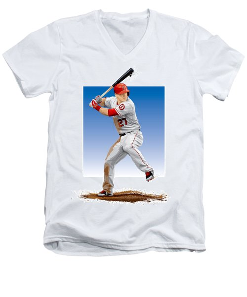 Mike Trout Men's V-Neck T-Shirt by Scott Weigner