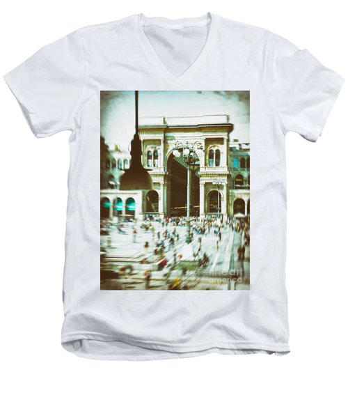 Men's V-Neck T-Shirt featuring the photograph Milan Gallery by Silvia Ganora
