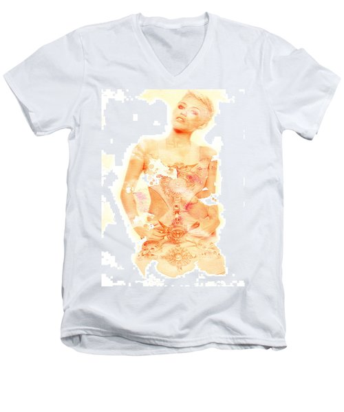 Men's V-Neck T-Shirt featuring the digital art Miley by Brian Reaves