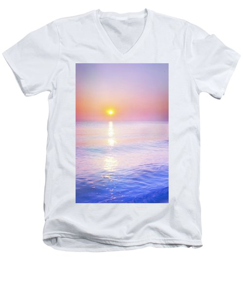 Men's V-Neck T-Shirt featuring the photograph Milky Sunset by Lilia D