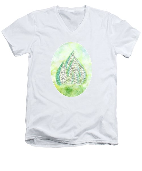 Men's V-Neck T-Shirt featuring the drawing Mini Forest Illustration by Lenny Carter